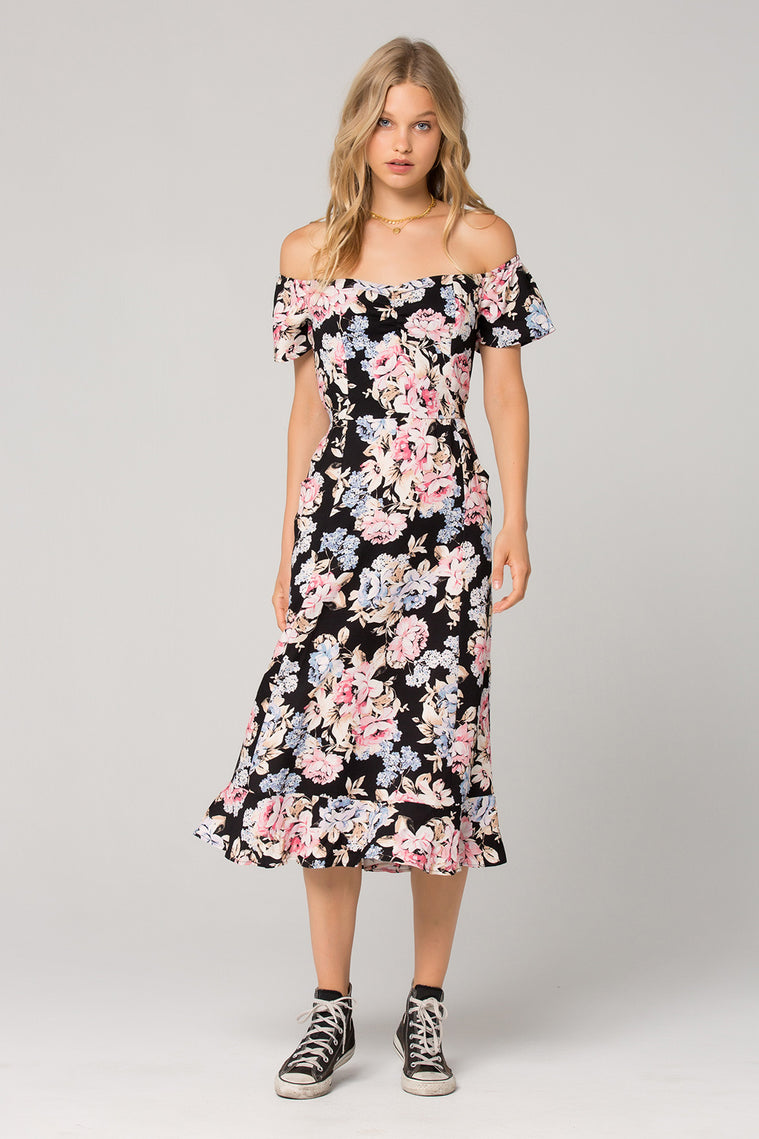 Santiago Floral Print Off Shoulder Midi Dress Front