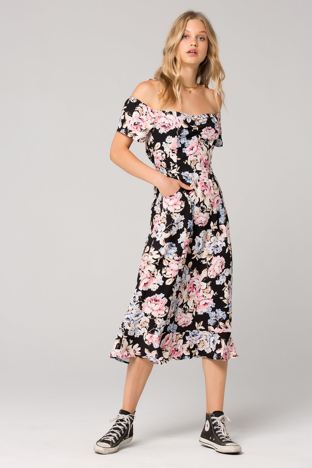 Santiago Floral Print Off Shoulder Midi Dress Master