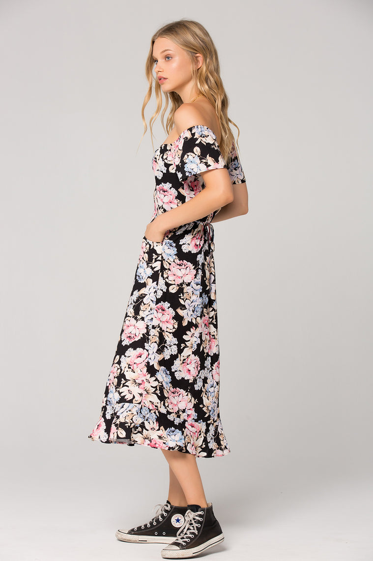 Santiago Floral Print Off Shoulder Midi Dress Side Detail