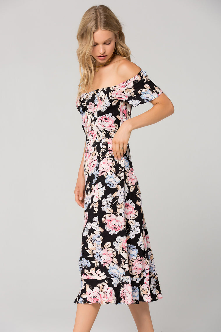 Santiago Floral Print Off Shoulder Midi Dress Side