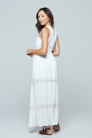Santorini Lace Tiered Maxi Dress Back