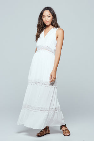 Santorini Lace Tiered Maxi Dress Side