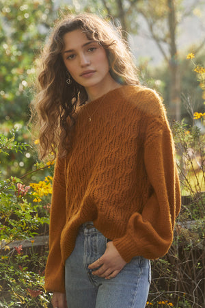 Sepulveda Marigold Cable Knit Sweater (Influencer)