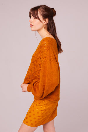 Sepulveda Marigold Cable Knit Sweater