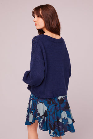 Sepulveda Sapphire Cable Knit Sweater Back