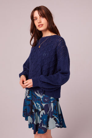 Sepulveda Sapphire Cable Knit Sweater Master