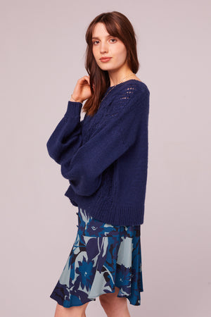 Sepulveda Sapphire Cable Knit Sweater Side