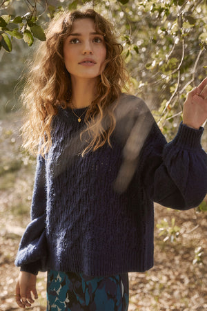 Sepulveda Sapphire Cable Knit Sweater Lifestyle