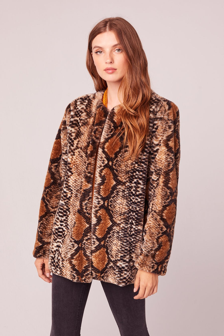Serpent Faux Fur Snake Print Jacket