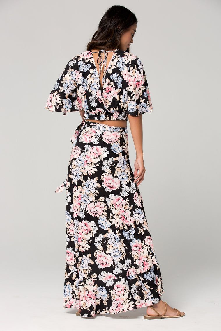 Seville Pink Floral Ruffle Wrap Maxi Skirt Back Detail