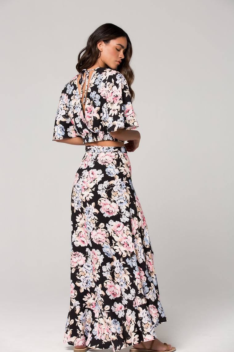 Seville Pink Floral Ruffle Wrap Maxi Skirt Back
