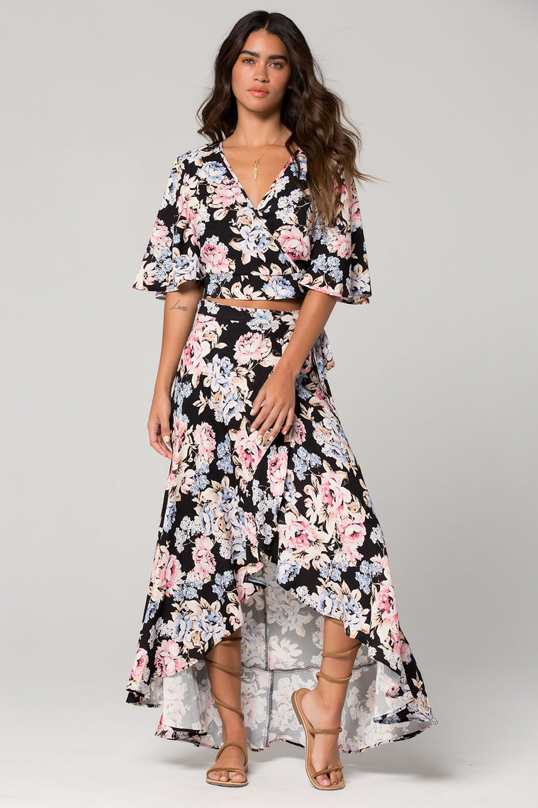 Seville Pink Floral Ruffle Wrap Maxi Skirt Master