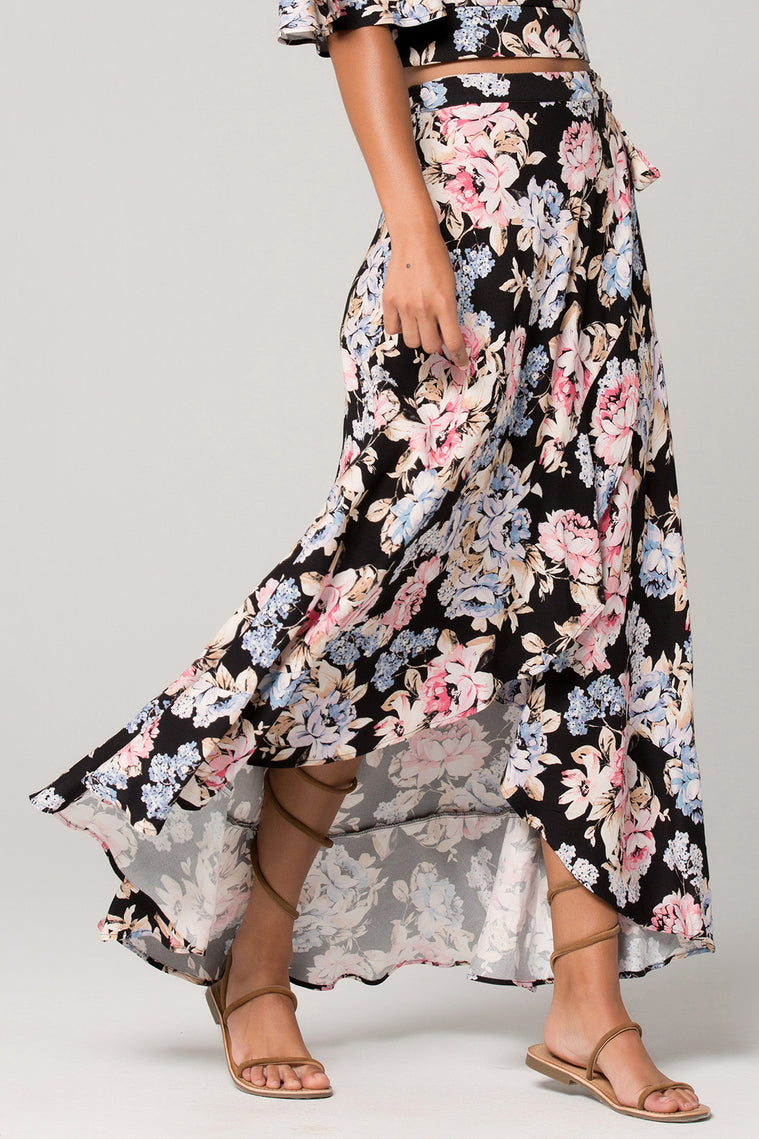 Seville Pink Floral Ruffle Wrap Maxi Skirt Detail
