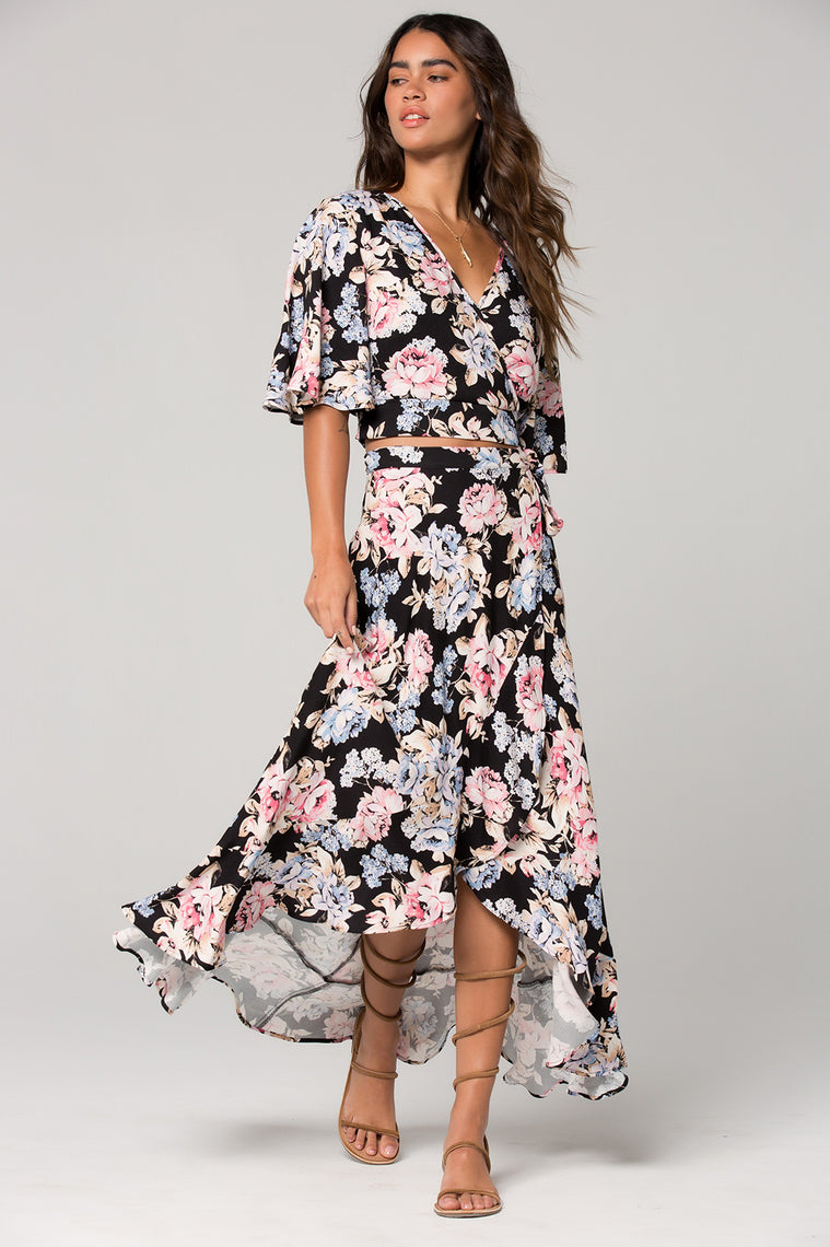 Seville Pink Floral Ruffle Wrap Maxi Skirt Front