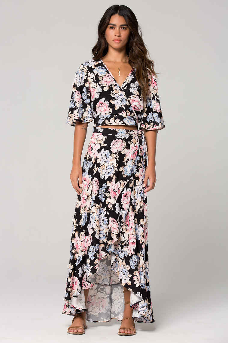 Seville Pink Floral Ruffle Wrap Maxi Skirt Master 2