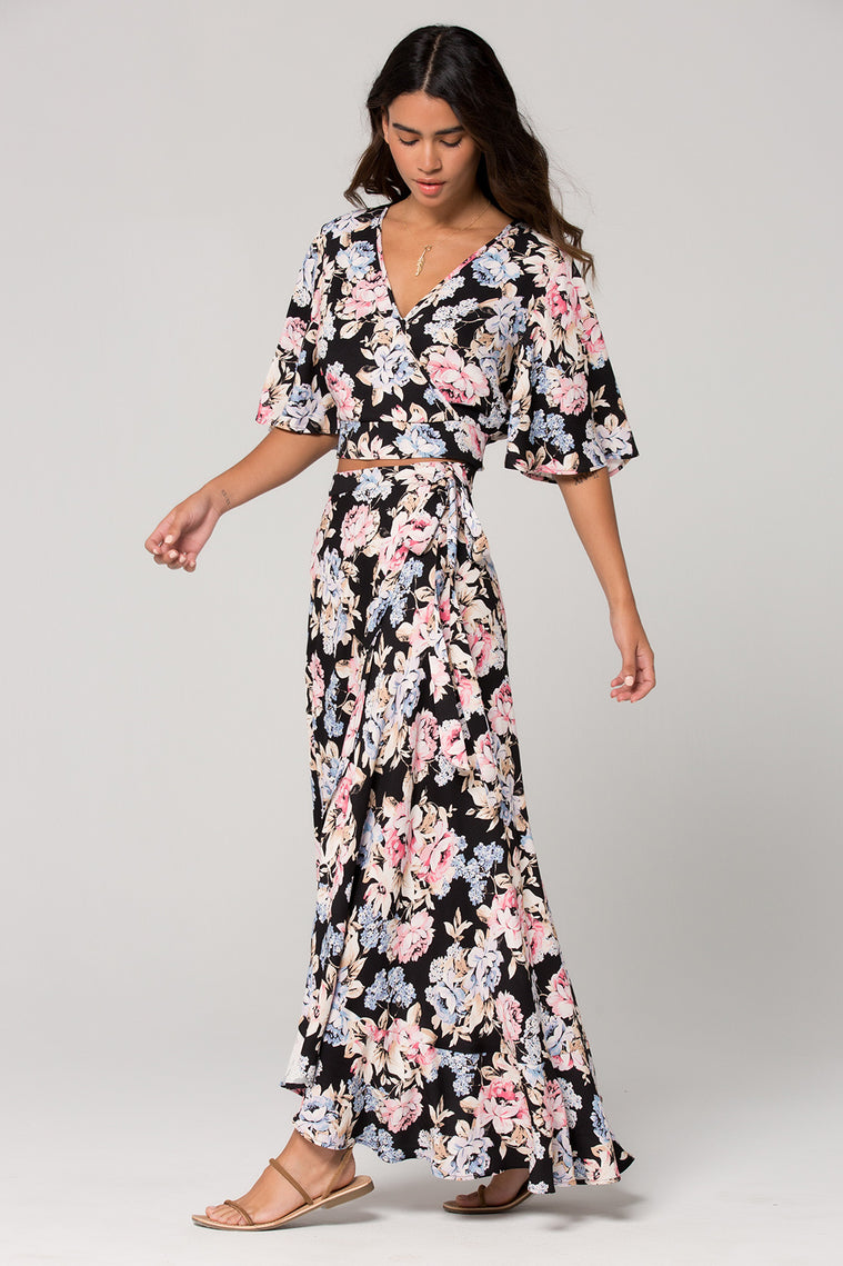 Seville Pink Floral Ruffle Wrap Maxi Skirt side Detail