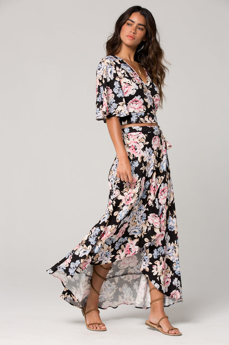 Seville Pink Floral Ruffle Wrap Maxi Skirt Side