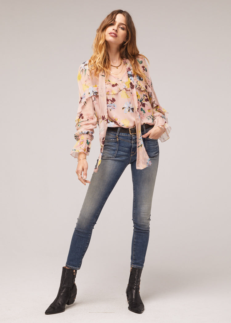 Shane Blush Floral Ruffle Neck Tie Top Master 2
