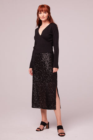 Sharon Black Sequin Pencil Skirt Alt