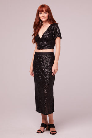 Sharon Black Sequin Pencil Skirt Front