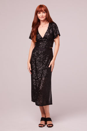 Sharon Black Sequin Pencil Skirt Master