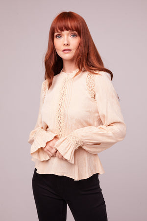 Shirley Victorian Ivory Lace Blouse Front