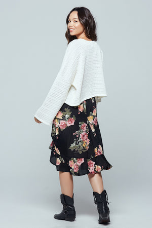 Siena Black Floral Ruched Skirt Back
