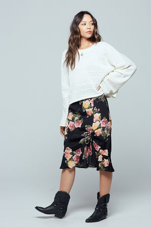 Siena Black Floral Ruched Skirt Detail