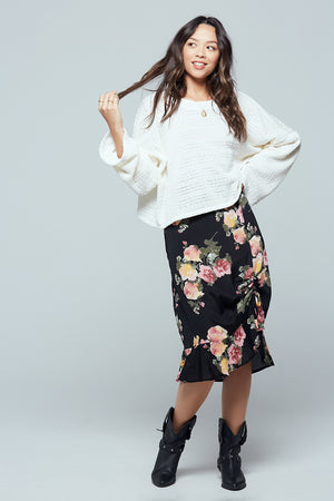 Siena Black Floral Ruched Skirt Front 2