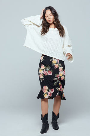 Siena Black Floral Ruched Skirt Master