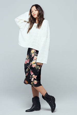 Siena Black Floral Ruched Skirt Side