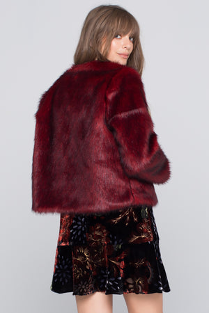 Silver Fox Faux Fur Jacket Back