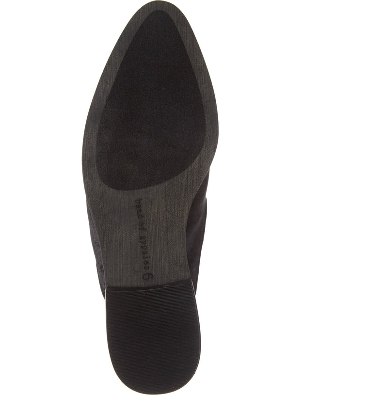 Skipper Black Velvet Loafer Mule Bottom