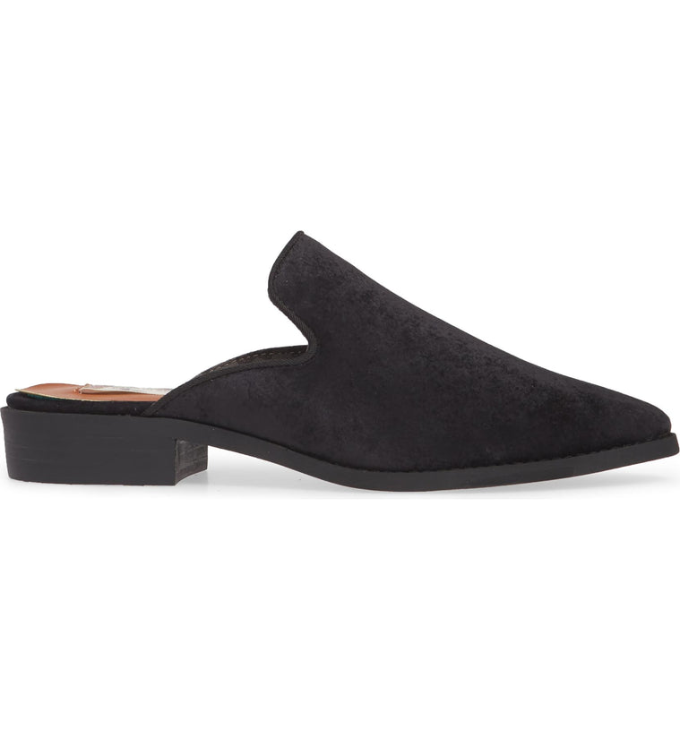 Skipper Black Velvet Loafer Mule Side