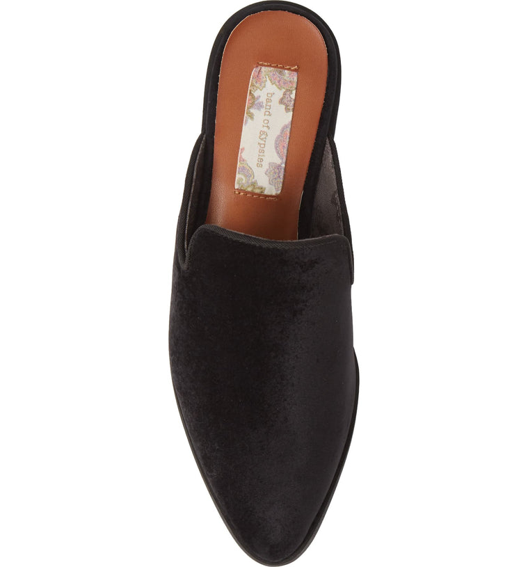 Skipper Black Velvet Loafer Mule Top