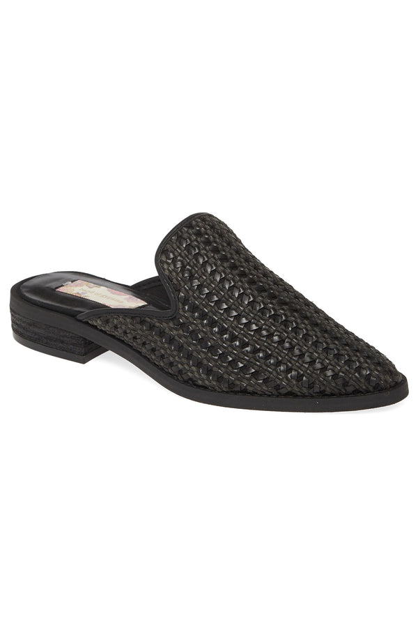 Skipper Black Woven Vegan Leather Loafer Mule Master