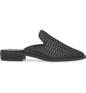Skipper Black Woven Vegan Leather Loafer Mule Side