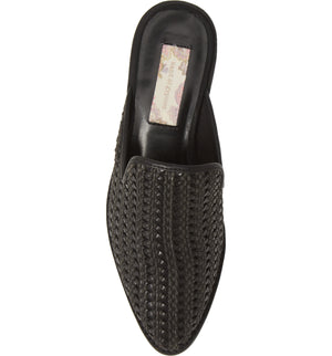 Skipper Black Woven Vegan Leather Loafer Mule Top
