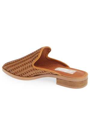 Skipper Cognac Woven Vegan Leather Loafer Mule Back