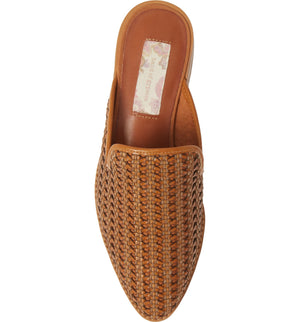 Skipper Cognac Woven Vegan Leather Loafer Mule Top