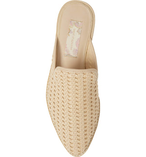 Skipper Ivory Woven Vegan Leather Loafer Mule Top