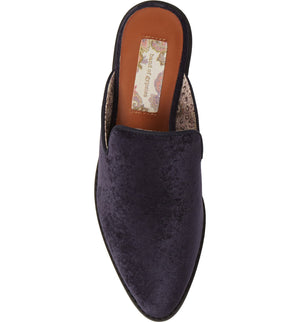 Skipper Midnight Blue Velvet Loafer Mule Top