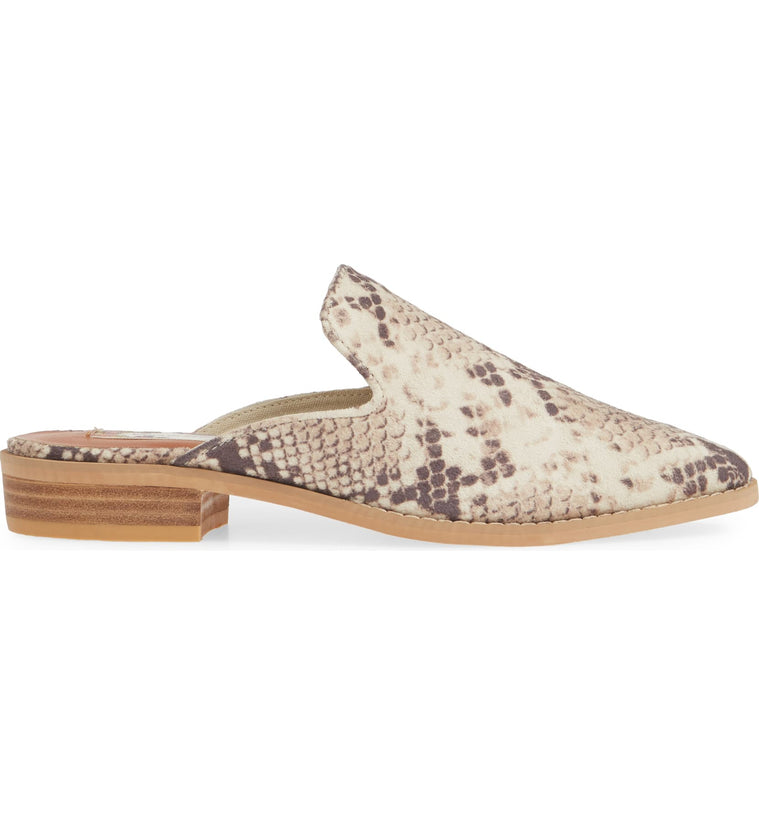 Skipper Snake Print Embossed Loafer Mule Side