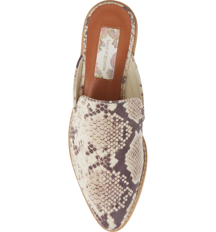 Skipper Snake Print Embossed Loafer Mule Top