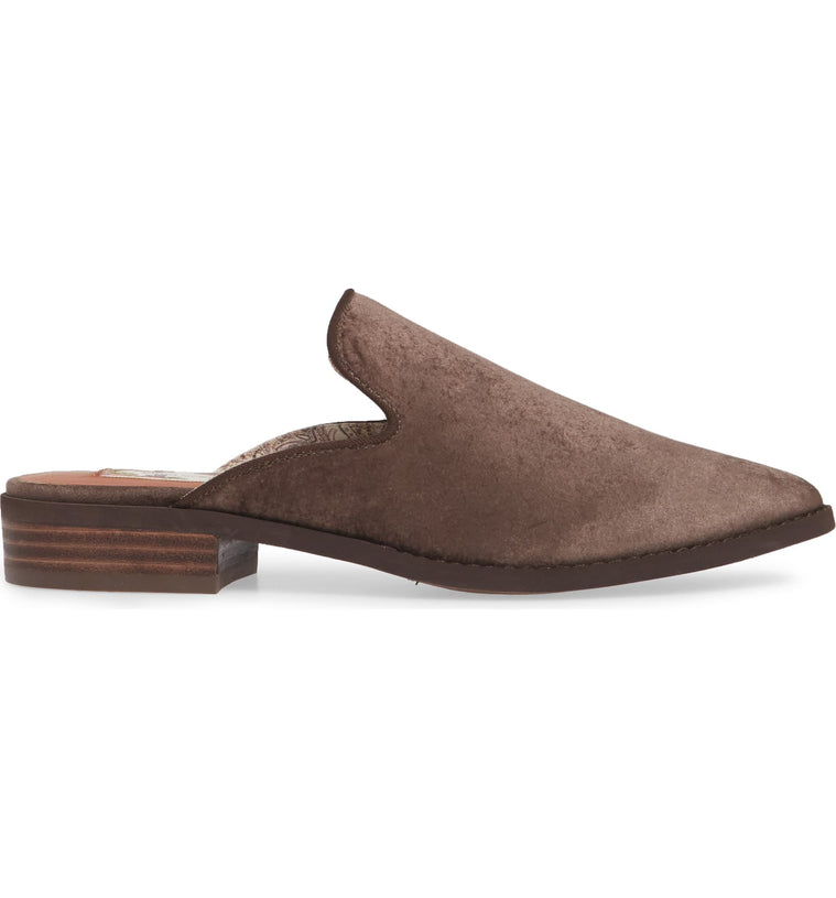 Skipper Taupe Velvet Loafer Mule Side