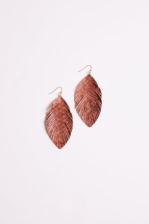 Snake Print Feather Drop Earrings Master