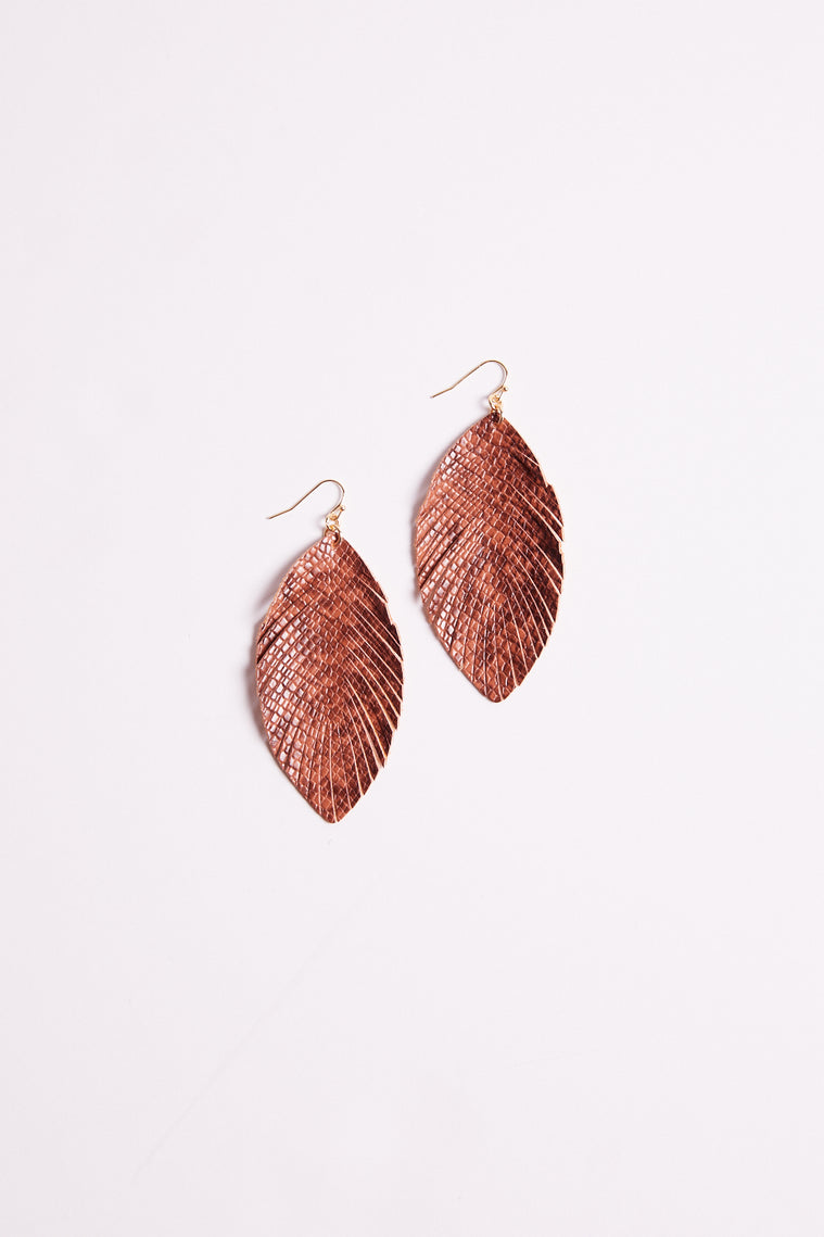 Snake Print Feather Drop Earrings Detail