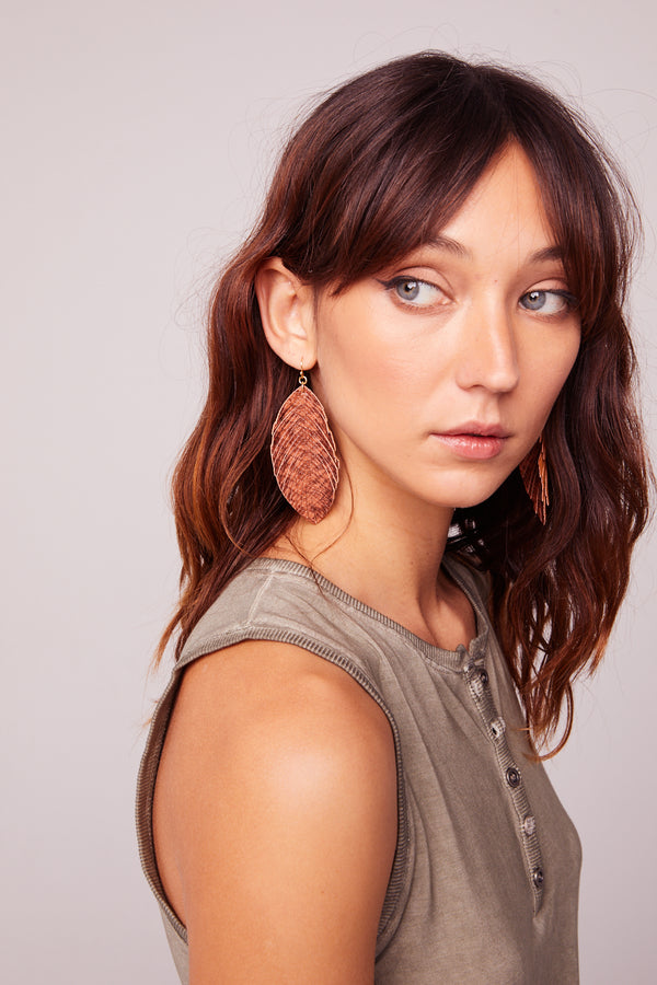 Snake Print Feather Drop Earrings Close