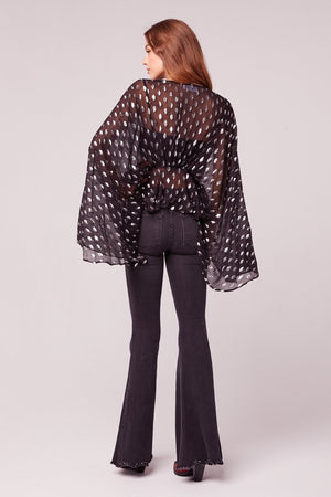 Soiree Bell Sleeve Black Metallic Top
