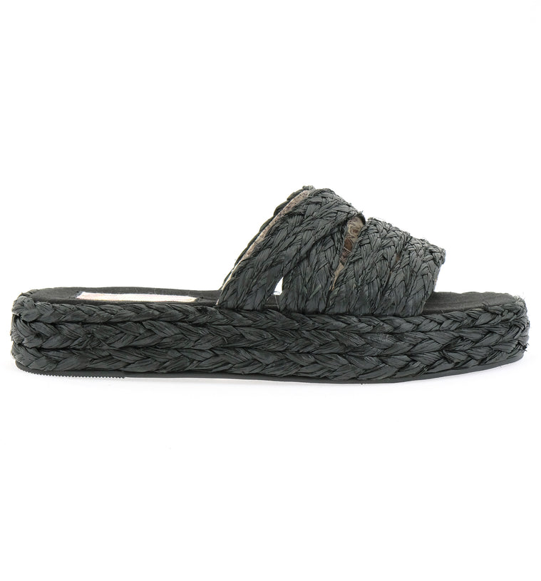 Solstice Black Vegan Platform Slide Sandal Side